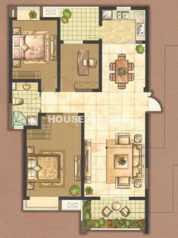 K户型-三室两厅一厨两卫