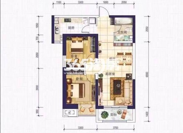 A3户型 两室两厅一厨一卫 88.87㎡