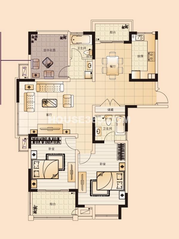 H1户型-两室两厅两卫+空中花园