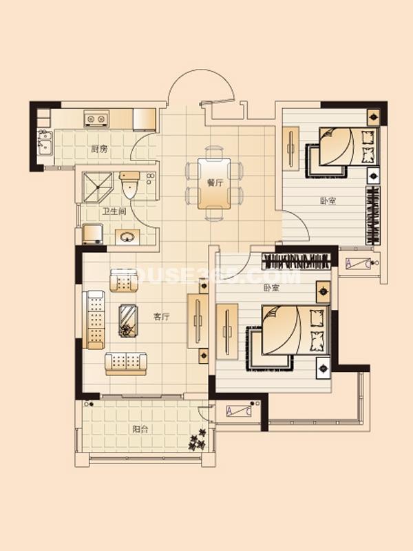 H2户型-两室两厅一卫