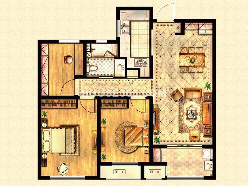 高层户型-爵士官邸 3房2厅1卫