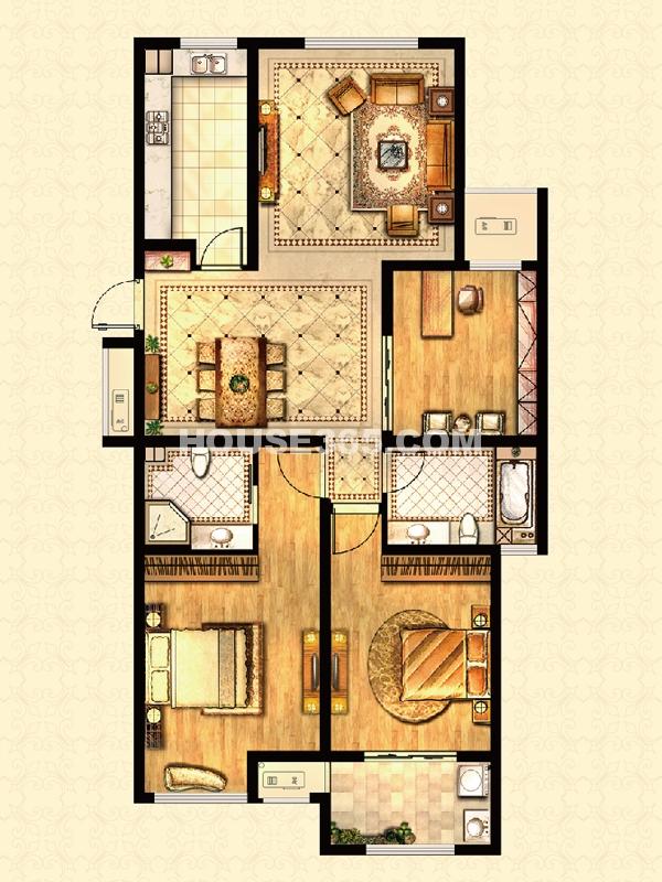 高层户型-香榭丽舍 3房2厅2卫