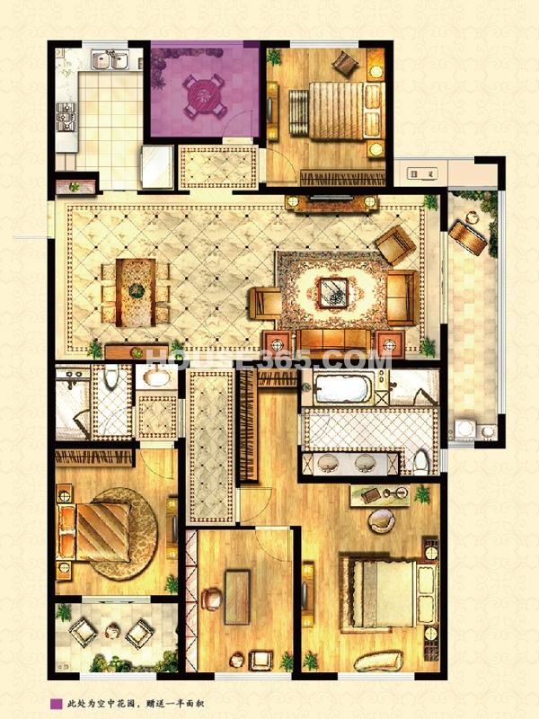 高层户型-马赛官邸 4房2厅2卫