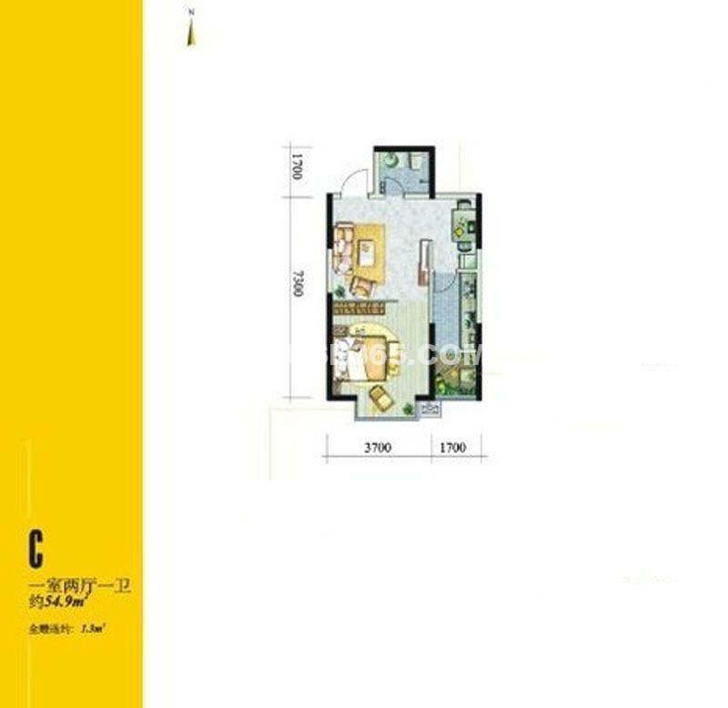 翡翠明珠7号楼C户型1室2厅1卫1厨 54.90㎡