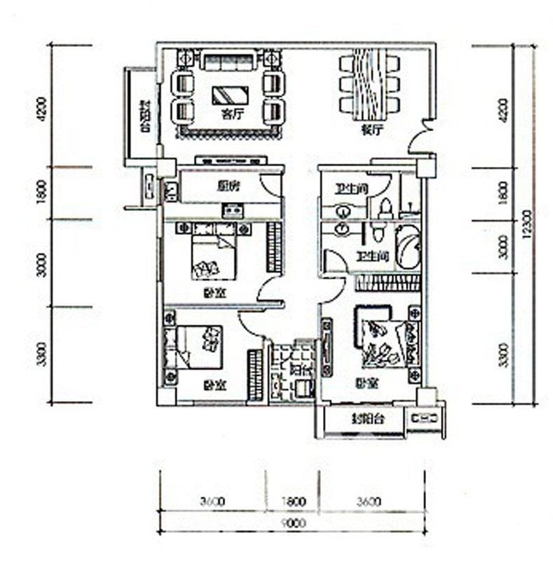 中贸广场D户型3室2厅2卫 142.00㎡