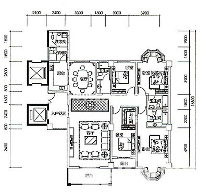 中贸广场E户型4室2厅3卫 219.00㎡