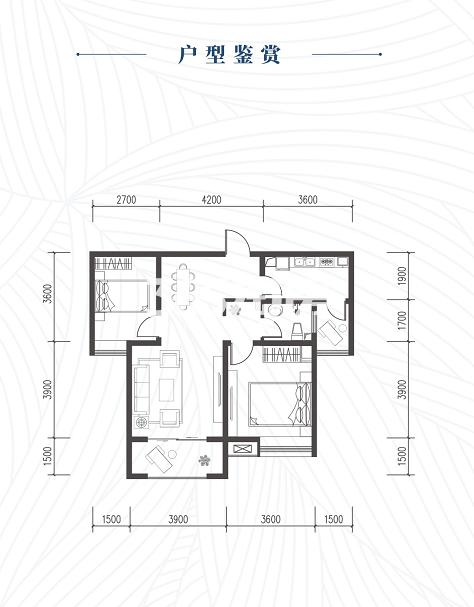 龙腾万都汇2#楼两室两厅一厨一卫89㎡户型图