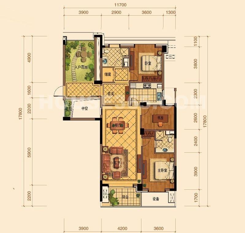 绿城玉蘭花园C2户型3室2厅2卫1厨 134.00㎡