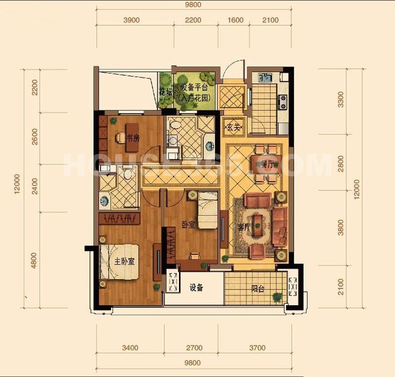 绿城玉蘭花园C3户型3室2厅2卫1厨 107.00㎡