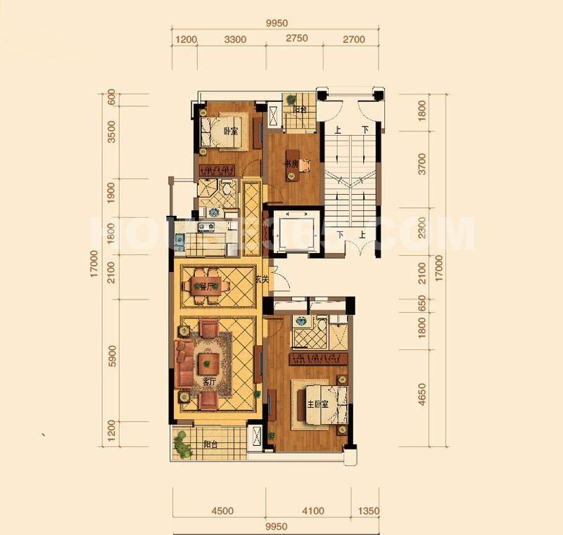 绿城玉蘭花园F1户型3室2厅2卫1厨 137.00㎡