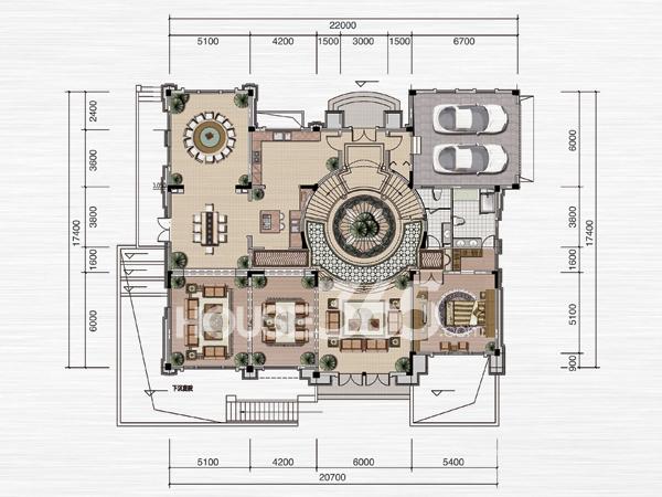 绿地内森庄园别墅 a户型 一层平面图