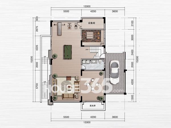 绿地内森庄园别墅 c户型 地下一层平面图