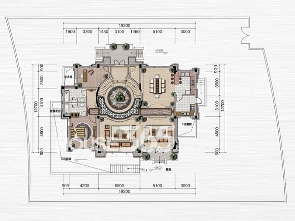 绿地内森庄园别墅 b户型 一层平面图