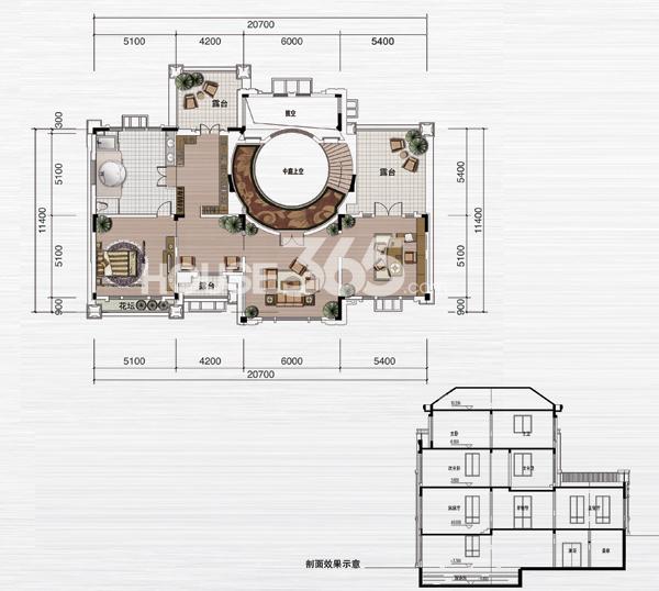 绿地内森庄园别墅 a户型 三层平面图