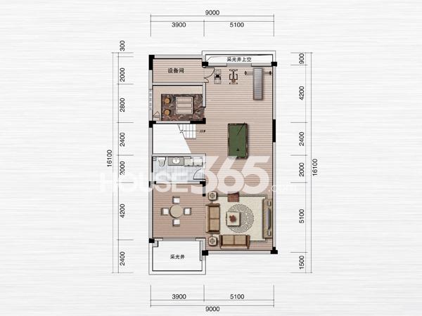 绿地内森庄园别墅 e户型 地下一层平面图