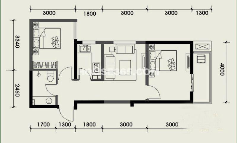 经发新北居C3户型2室1厅1卫 62.91㎡