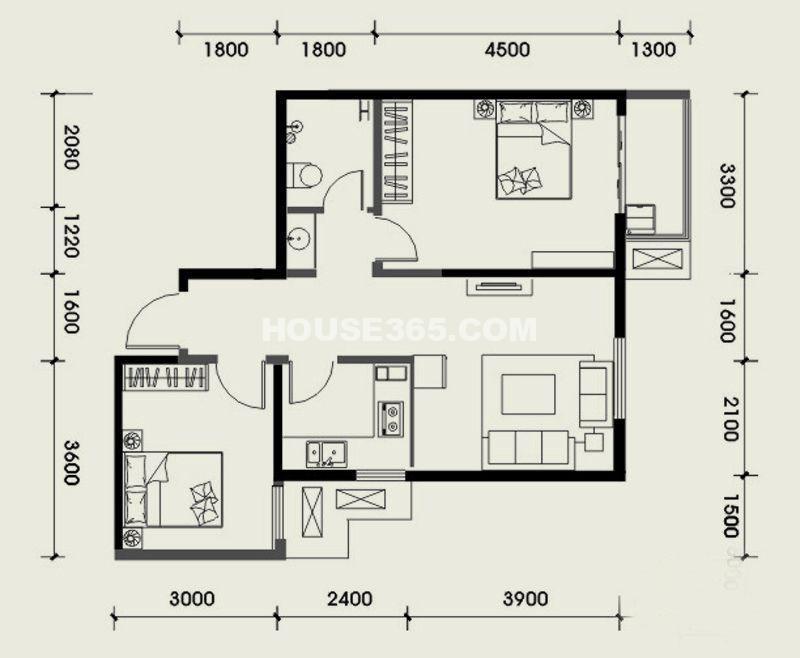 经发新北居B4户型2室2厅1卫 73.69㎡