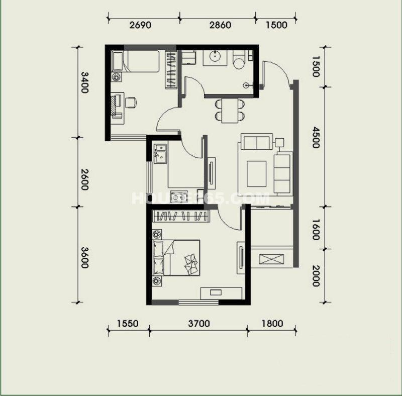 经发新北居C4户型2室2厅1卫 62.04㎡