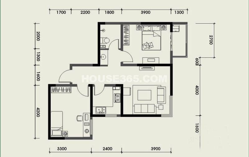 经发新北居B2户型3室1厅1卫 73.81㎡