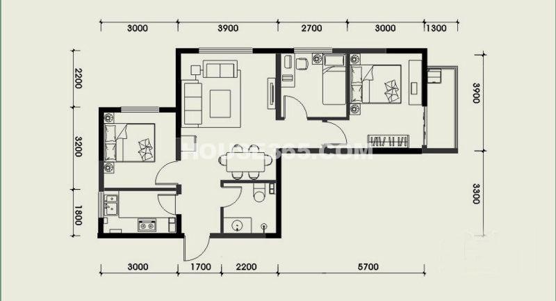 经发新北居B1户型3室2厅1卫 82.78㎡