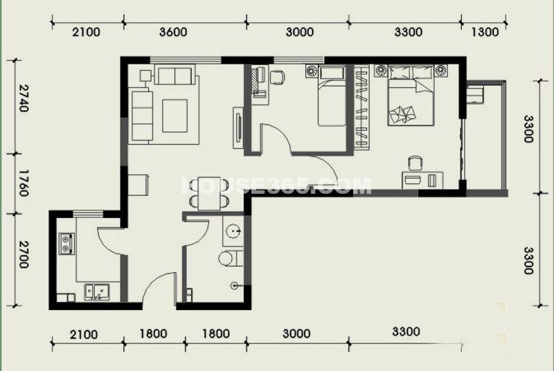 经发新北居C1户型2室2厅1卫 72.47㎡
