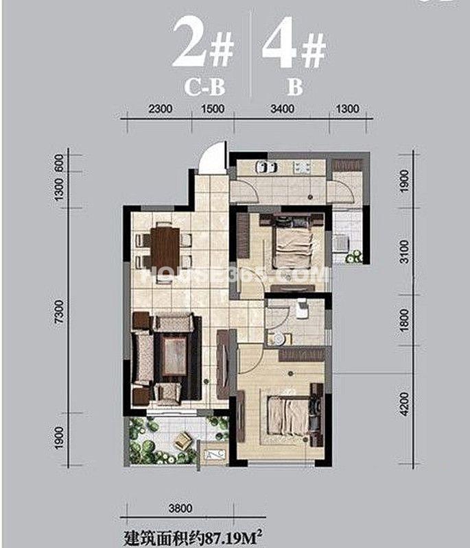 融侨城2#/4#楼B户型2室2厅1卫1厨 87.19㎡