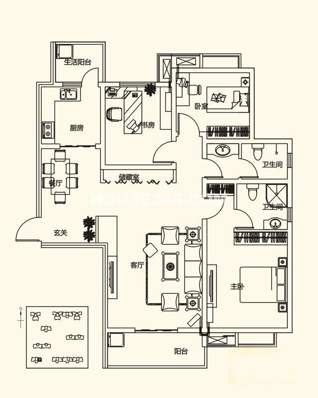山水悦庭E户型3室2厅2卫1厨128.48㎡