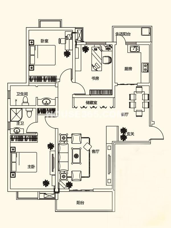 山水悦庭C户型3室2厅2卫1厨140.87㎡