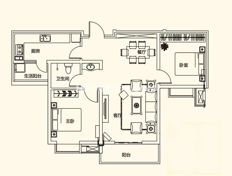 山水悦庭G户型2室2厅1卫1厨89.92㎡