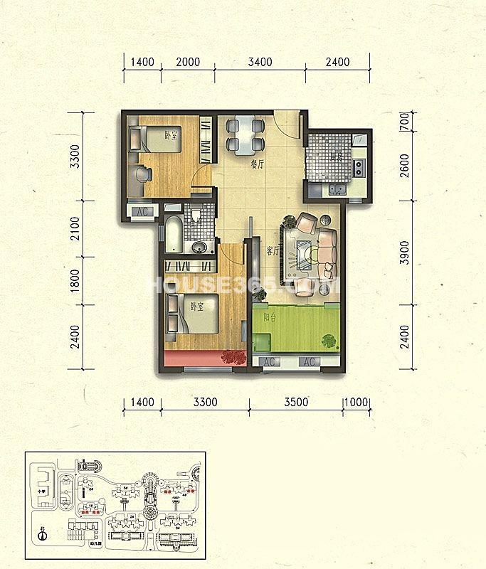 悦美国际A2户型2室2厅1卫1厨 85.00㎡