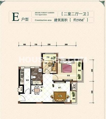 保利溪湖林语E户型二室二厅一卫 约59平