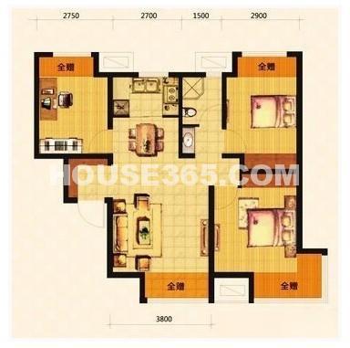 荣盛坤湖郦舍3室2厅1厨1卫84.47平户型图