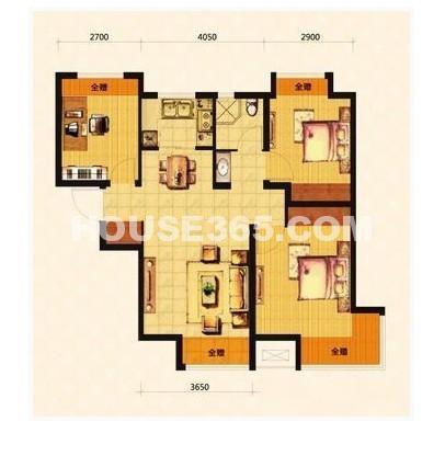 荣盛坤湖郦舍 3室2厅1厨1卫88.72平户型图