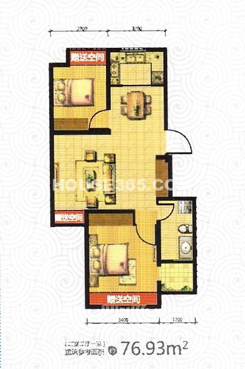 荣盛坤湖郦舍2室2厅1厨1卫76.93平户型图