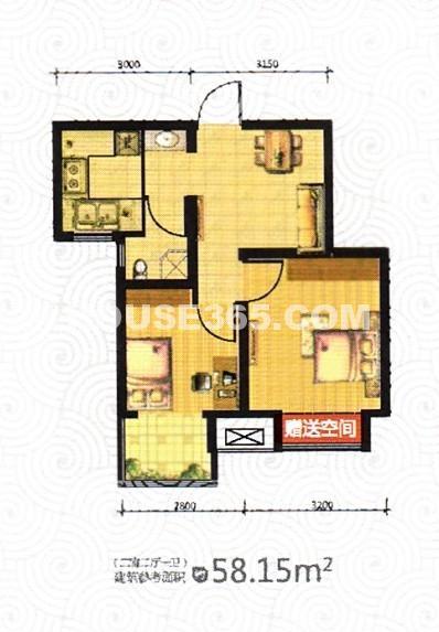 荣盛坤湖郦舍2室2厅1厨1卫58.17平户型图
