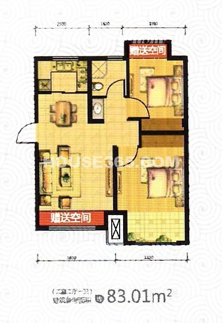 荣盛坤湖郦舍2室2厅1厨1卫83.01平户型图