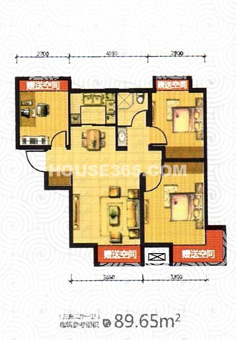 荣盛坤湖郦舍3室2厅1厨1卫89.65平户型图