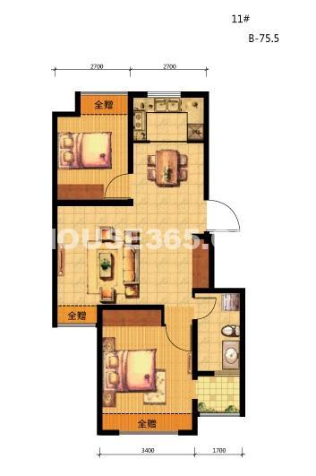 荣盛坤湖郦舍户型-02两室两厅一卫 75.5㎡