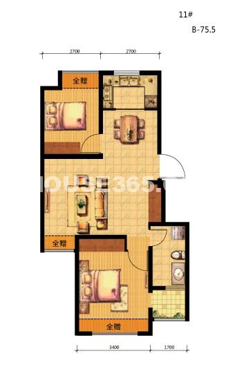 荣盛坤湖郦舍两室两厅一卫 75.5㎡