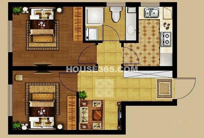 龙湖源著2室1厅1厨1卫57平户型图