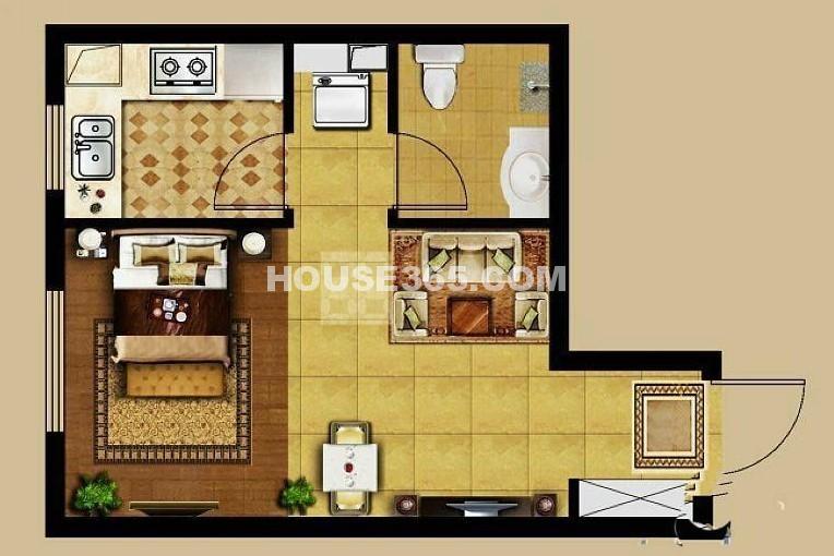龙湖源著1室1厅1厨1卫39平户型图