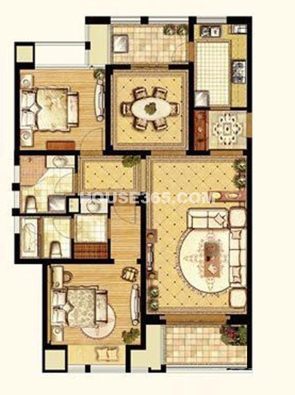 翠湖湾B户型2室2厅2卫1厨 128.00㎡