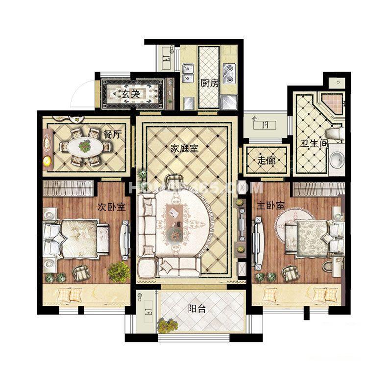 翠湖湾1-4#C户型3室2厅1卫1厨 100.00㎡