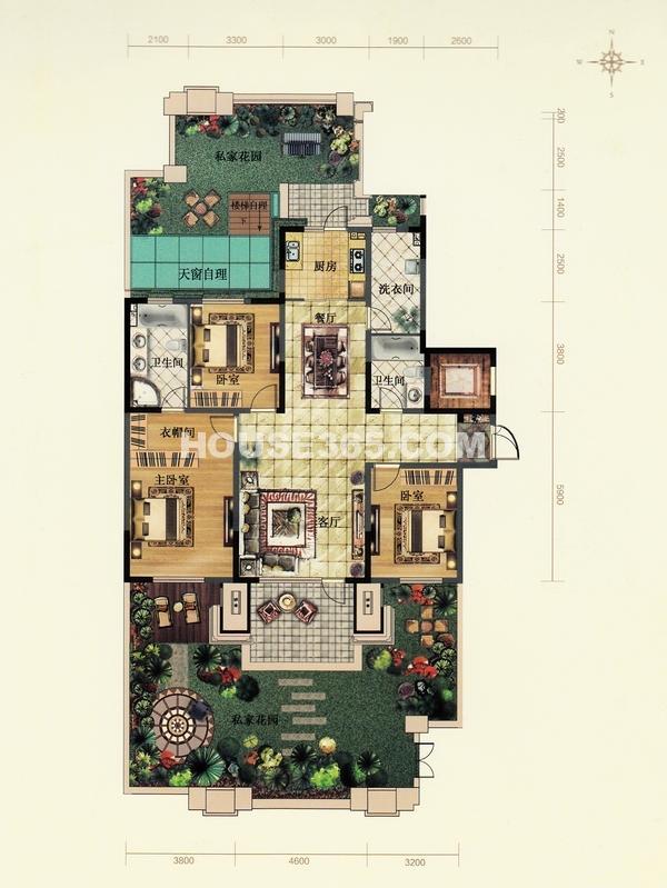 金地檀溪户型图三室二厅二卫150平米