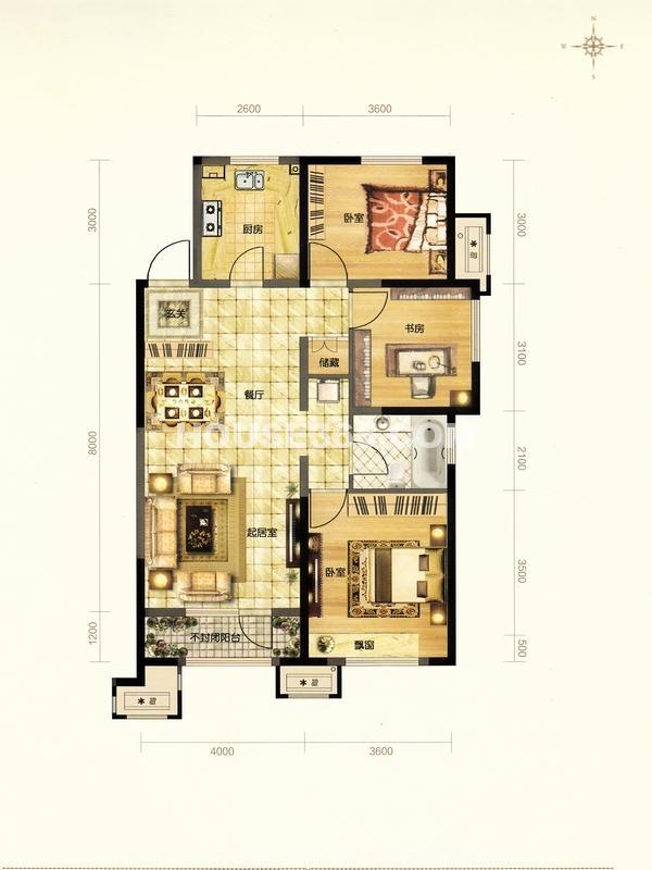 金地檀溪户型图三室二厅一卫112平米