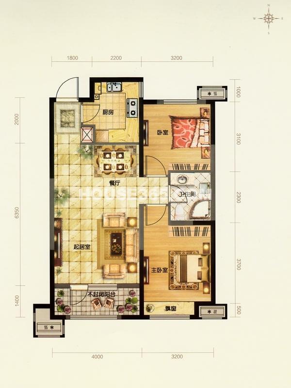 金地檀溪户型图二室二厅一卫88平米