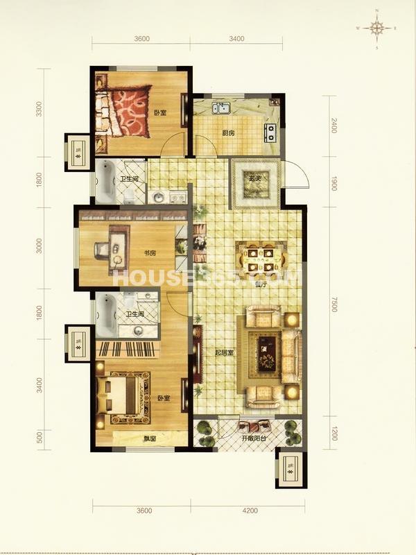 金地檀溪户型图三室二厅二卫125平米