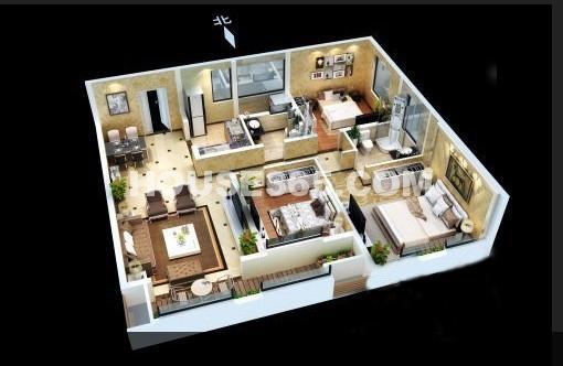 紫薇风尚三期锦程户型3室2厅2卫1厨 125.00㎡