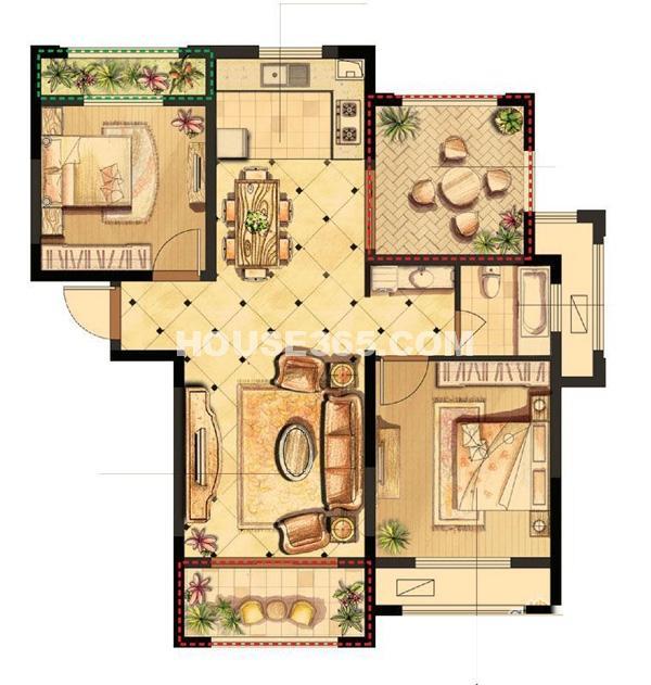 伟业迎春世家19#、20#楼G1户型2室2厅1卫1厨 95.00㎡