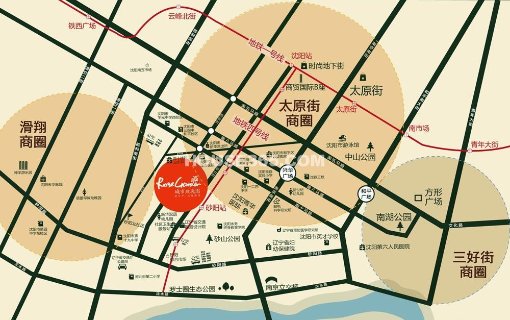 城市玫瑰园交通图